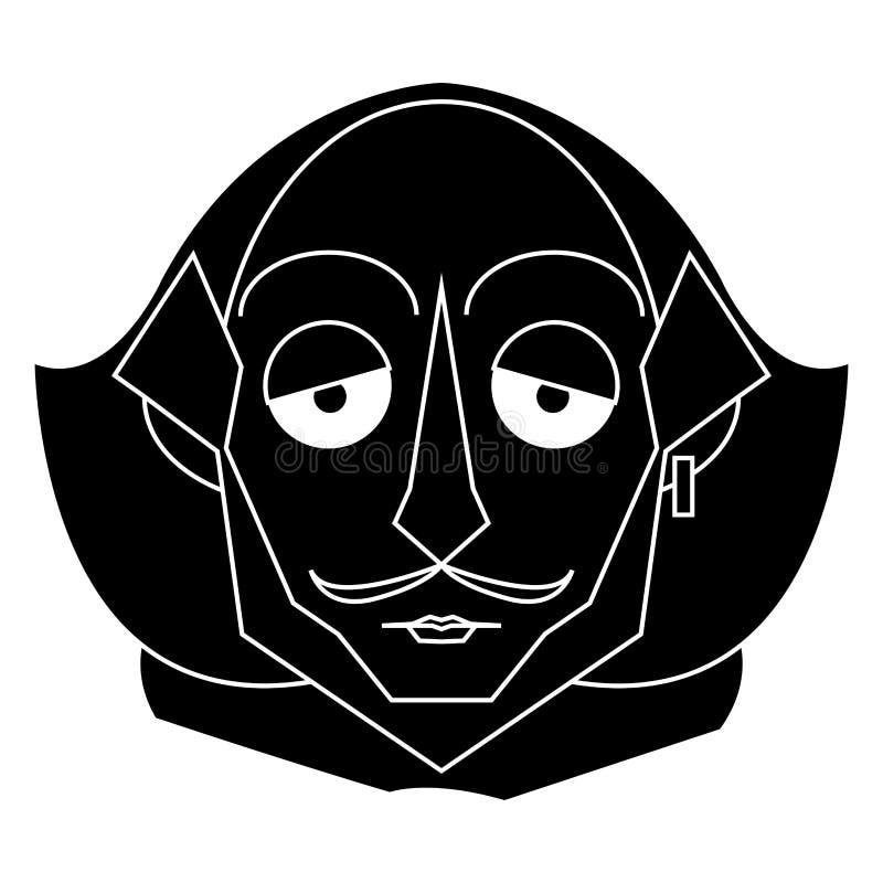 Isolerad Shakespeare kontur stock illustrationer