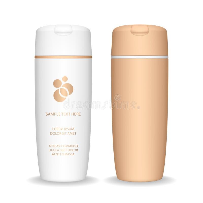 isolerad shampoowhite f?r bakgrund flaska Kosmetisk flaska f?r flytande, schampo, badskum stock illustrationer