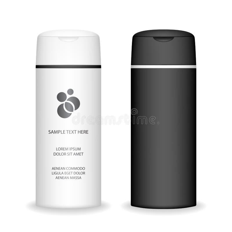 isolerad shampoowhite f?r bakgrund flaska Kosmetisk flaska f?r flytande, schampo, badskum royaltyfri illustrationer