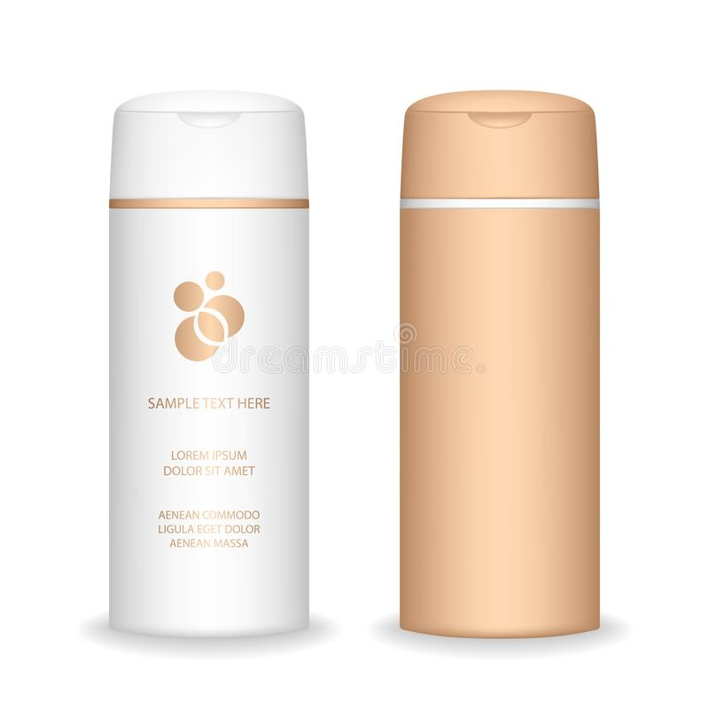 isolerad shampoowhite f?r bakgrund flaska Kosmetisk flaska f?r flytande, schampo, badskum vektor illustrationer