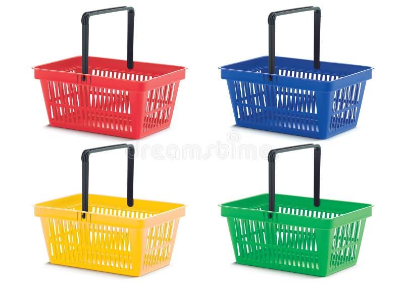 Isolerad shoppingkorg, färgrik uppsättning stock illustrationer