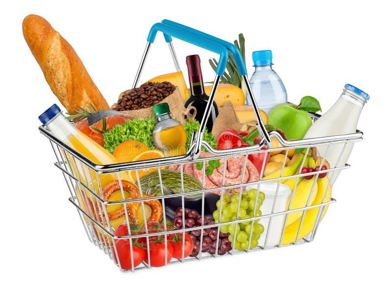 Isolerad shoppingkorg som fylls med mat royaltyfria foton