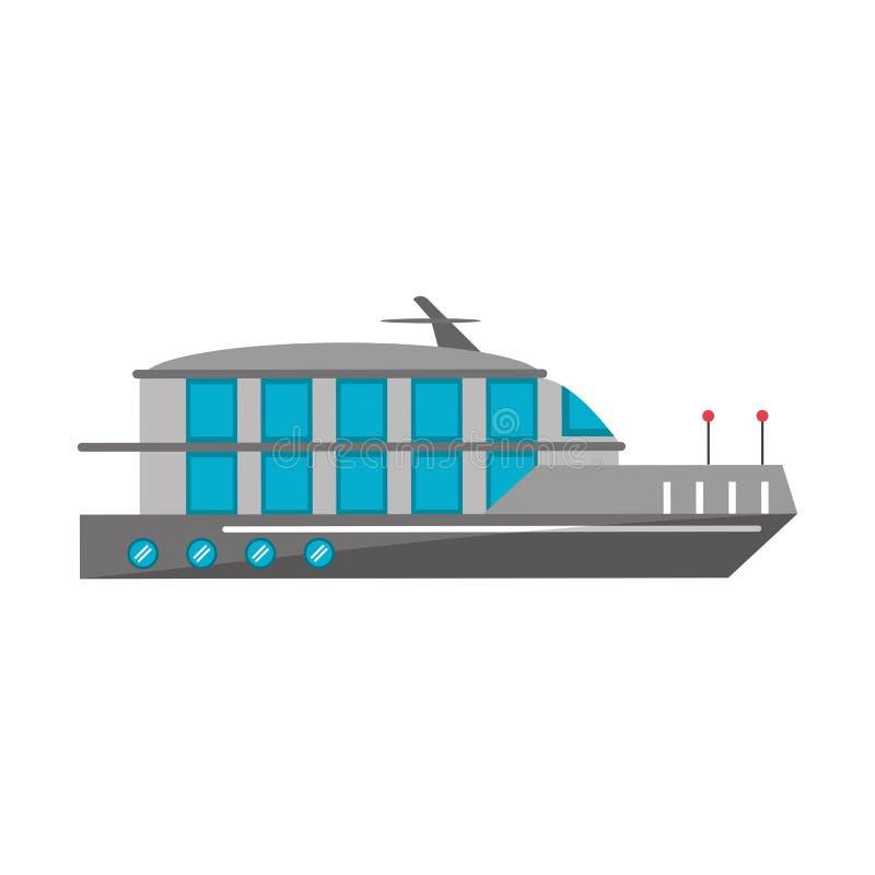 Isolerad sideview för fartyg för kryssningskepp vektor illustrationer