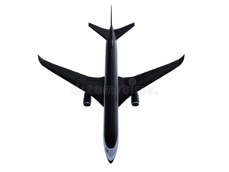 isolerad sikt för flygplan black royaltyfri illustrationer