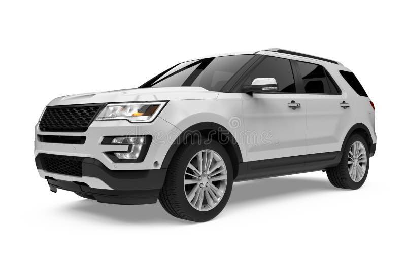 Isolerad silverSUV bil stock illustrationer