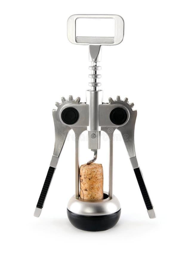 isolerad silverwine för kork korkskruv arkivfoto