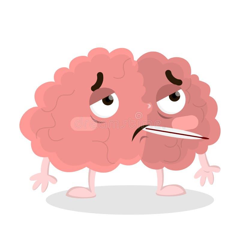 Isolerad sjuk hjärna stock illustrationer