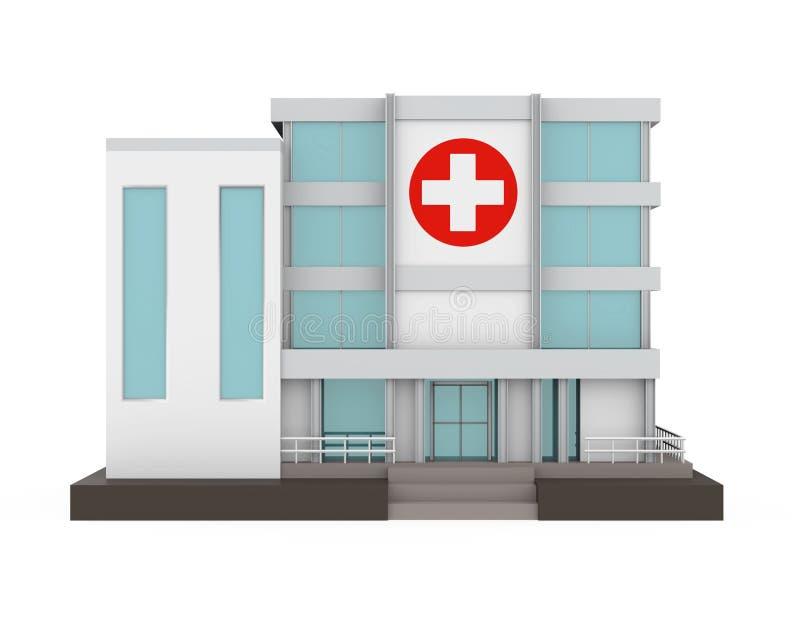 Isolerad sjukhusbyggnad stock illustrationer