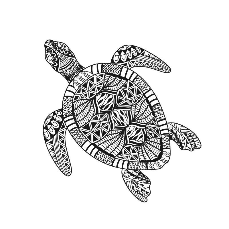 Isolerad sköldpadda för utdragen svart översikt för hand abstrakt utsmyckad på vit bakgrund Prydnad av kurvlinjer Sida av färgläg vektor illustrationer