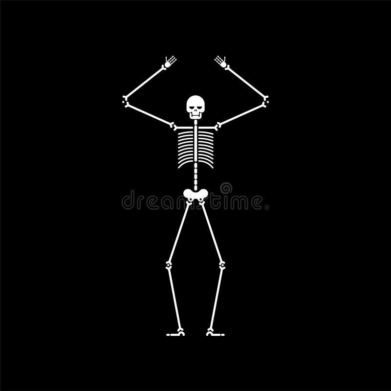 Isolerad skelett- dans Skalle- och bendanser Vektorillustrat royaltyfri illustrationer