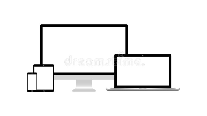 Isolerad skrivbords- åtlöje för för bildskärmbärbar datorminnestavla och smartphone upp på vit bakgrund Kompatibel EPS10 stock illustrationer