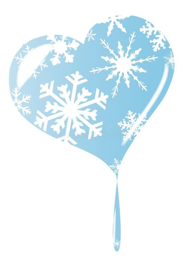 Isolerad smältande is- och snöflingahjärta royaltyfri illustrationer