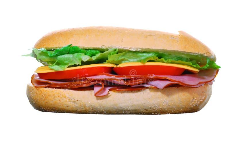 isolerad smörgås för ost skinka royaltyfri fotografi