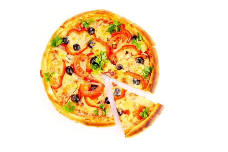 isolerad smaklig white för pizza arkivbild