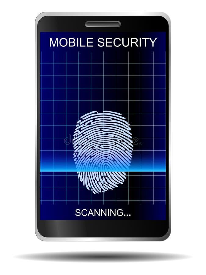 Isolerad Smartphone fingeravtrycksäkerhet royaltyfri illustrationer