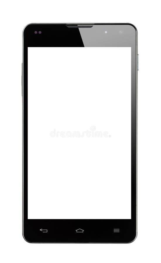 Isolerad Smartphone Frontal vit skärm arkivfoto