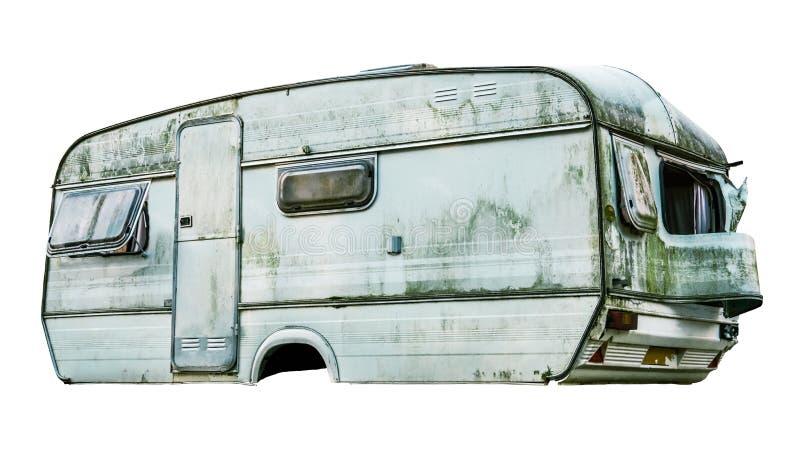 Isolerad smutsig husvagn arkivbild
