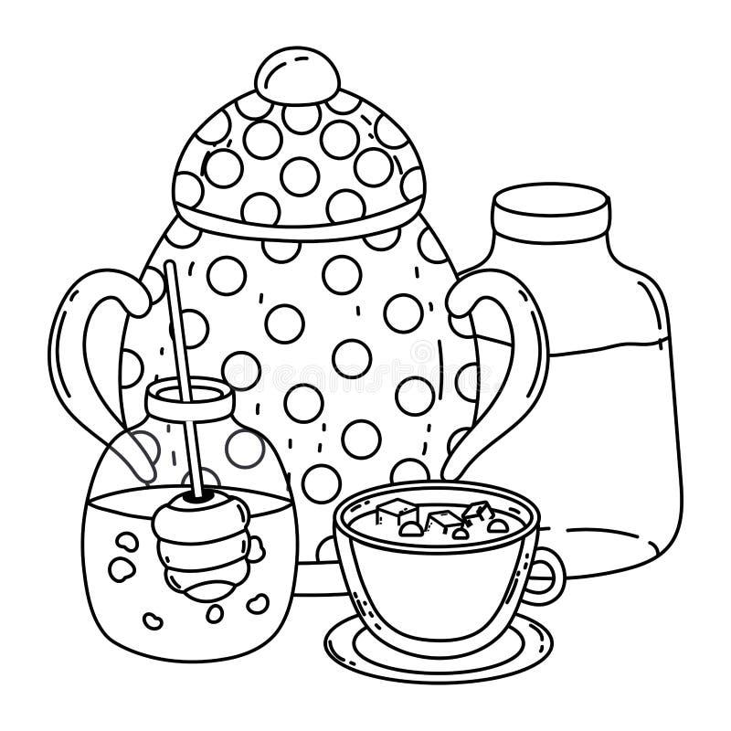 Isolerad sockerbunke och att mjölka flaskdesign royaltyfri illustrationer