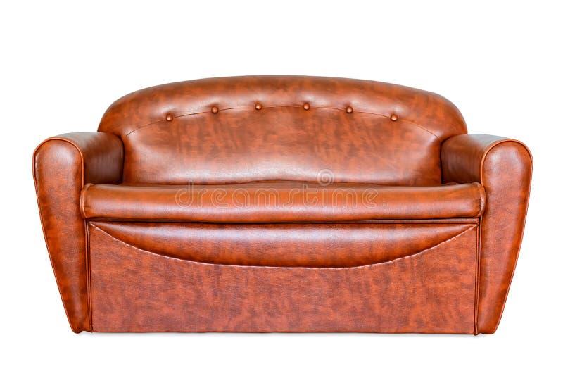 Isolerad soffa för tappningbruntläder fotografering för bildbyråer