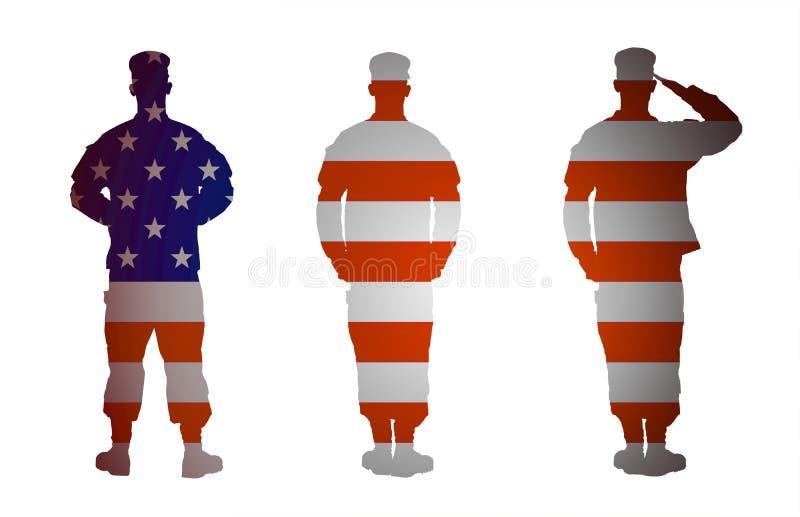 Isolerad soldat för USA-armé i tre positioner på vit bakgrund royaltyfri illustrationer