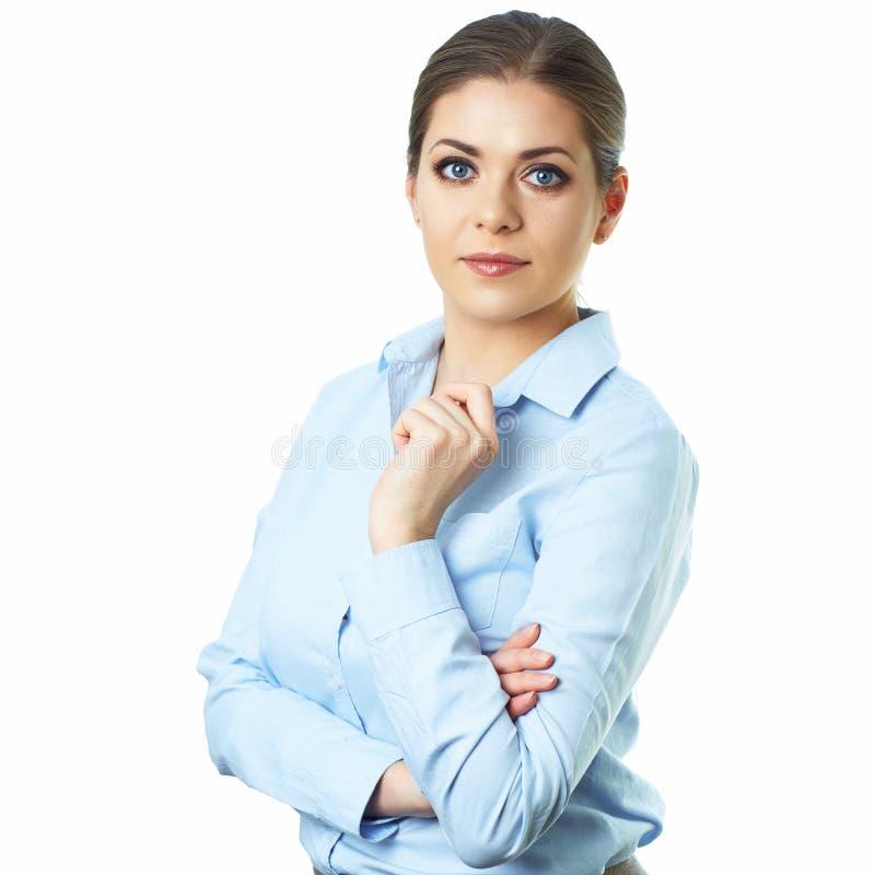 Isolerad stående för affärskvinna grön kontorsarbetare för bakgrund royaltyfria foton