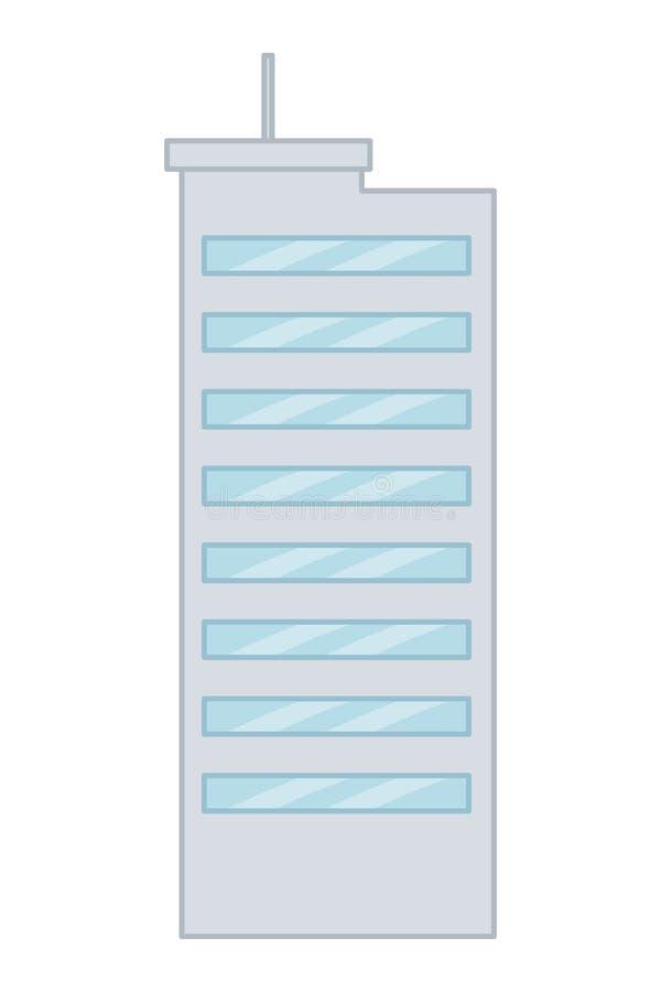 Isolerad stads- och modern byggande design stock illustrationer
