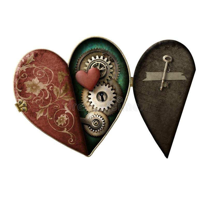 Isolerad Steampunk hjärtamedaljong royaltyfri illustrationer