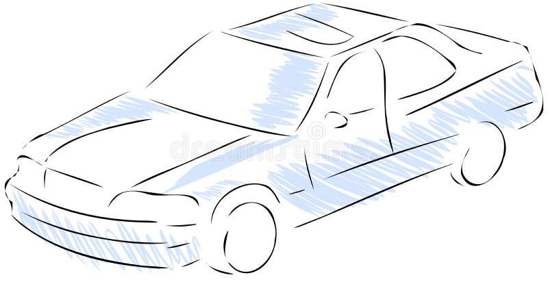 Isolerad stiliserad bil i blått och svart royaltyfri illustrationer