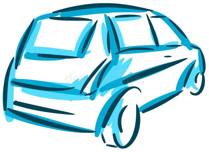 Isolerad stiliserad bil i blåttsignaler stock illustrationer