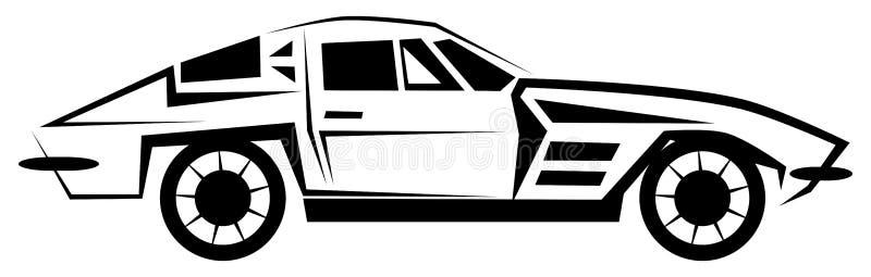 Isolerad stiliserad bil i svartvitt vektor illustrationer