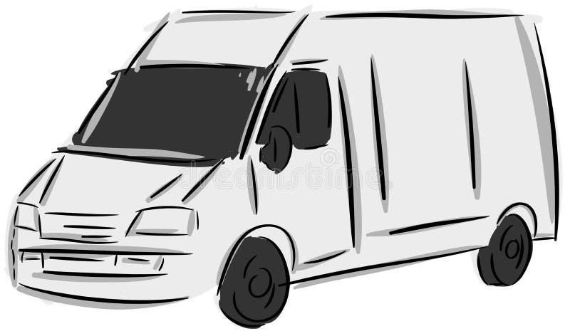 Isolerad stiliserad lastbil royaltyfri illustrationer
