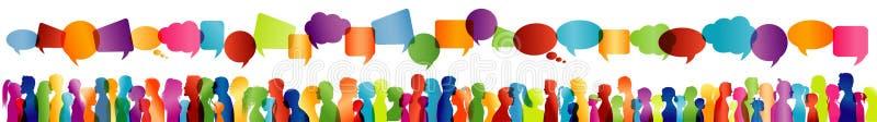 Isolerad stor gruppkommunikation av folksamtal tränga ihop folk vektor för anförande för bubbladiagramperson talande Meddela soci vektor illustrationer