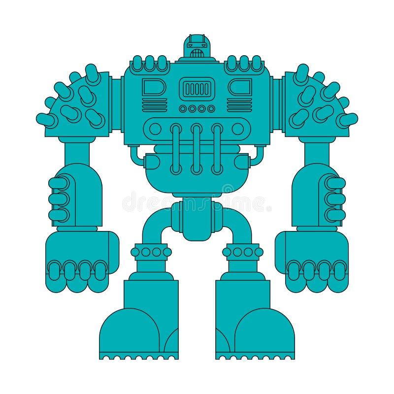 Isolerad stridrobot Cyborgkrigareframtid Vektor Illustratio stock illustrationer