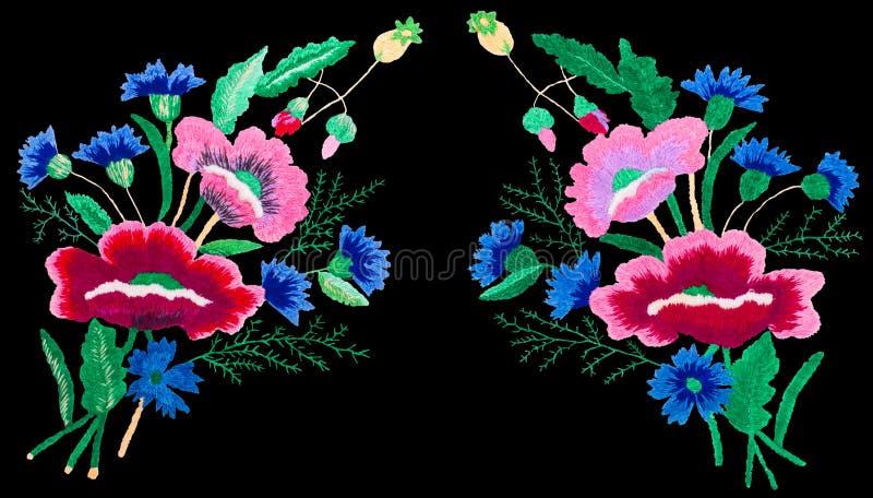 Isolerad svart bakgrund för broderihäftklammer blommor arkivbilder