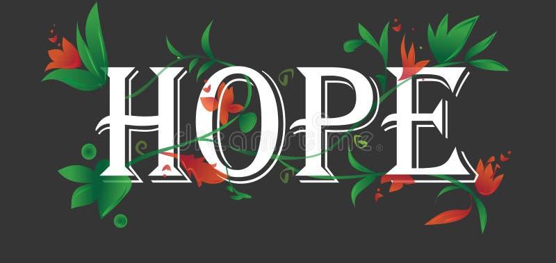 Isolerad svart bakgrund för hoppbegreppstext blom- blomningar vektor illustrationer