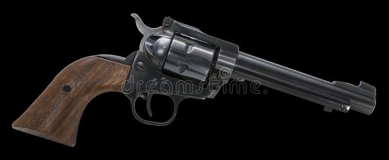 Isolerad svart bakgrund för revolver vapen royaltyfri foto