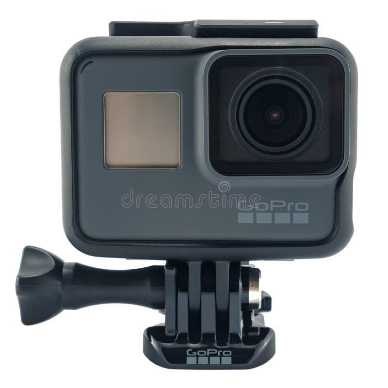 Isolerad svart för GoPro HJÄLTE 6 arkivfoton