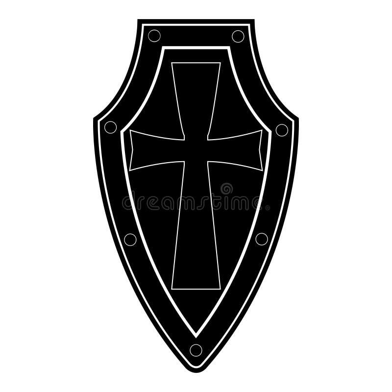 Isolerad svart sköld på vit bakgrund Vektorillustration av skölden Emblem symbol, sköldsymbol vektor illustrationer