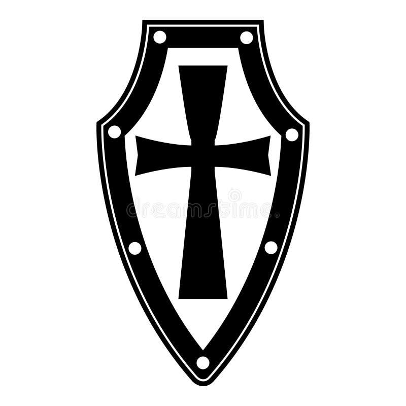 Isolerad svart sköld på vit bakgrund Vektorillustration av skölden Emblem symbol, sköldsymbol royaltyfri illustrationer