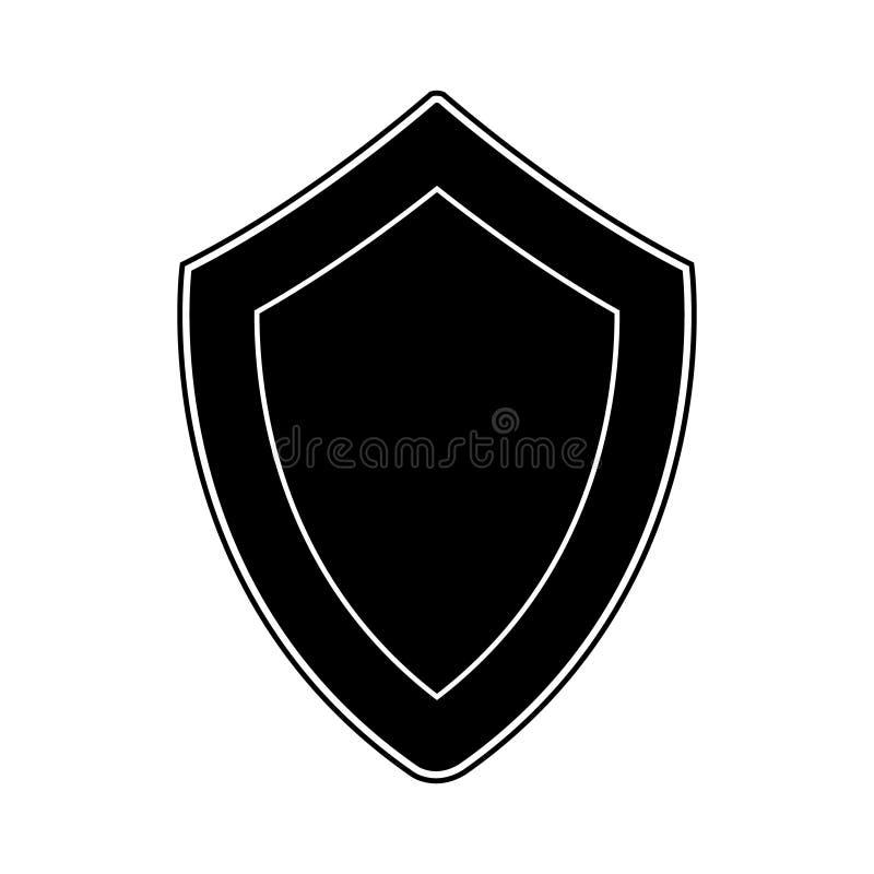 Isolerad svart sköld på vit bakgrund Vektorillustration av skölden Emblem symbol, sköldsymbol stock illustrationer