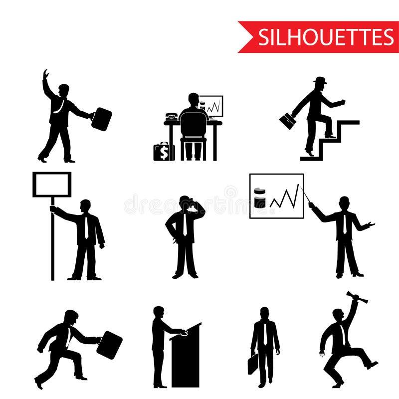 Isolerad svart uppsättning för affärsmankontursymboler  vektor illustrationer