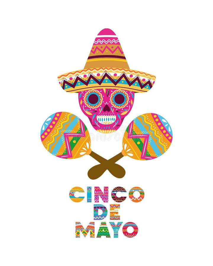 Isolerad symbol för Cinco de mayo etikett skalle royaltyfri illustrationer