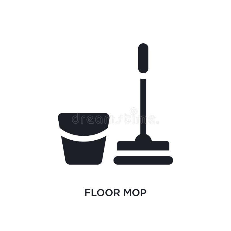 isolerad symbol för golv golvmopp enkel beståndsdelillustration från rengörande begreppssymboler design för symbol för tecken för stock illustrationer