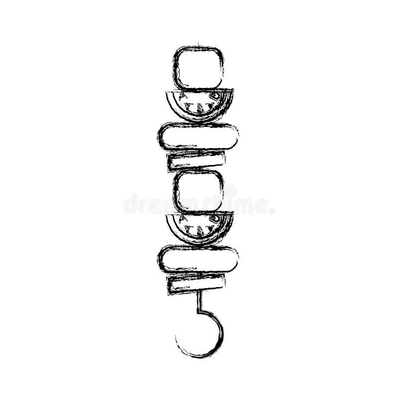 Isolerad symbol för kött pinne vektor illustrationer
