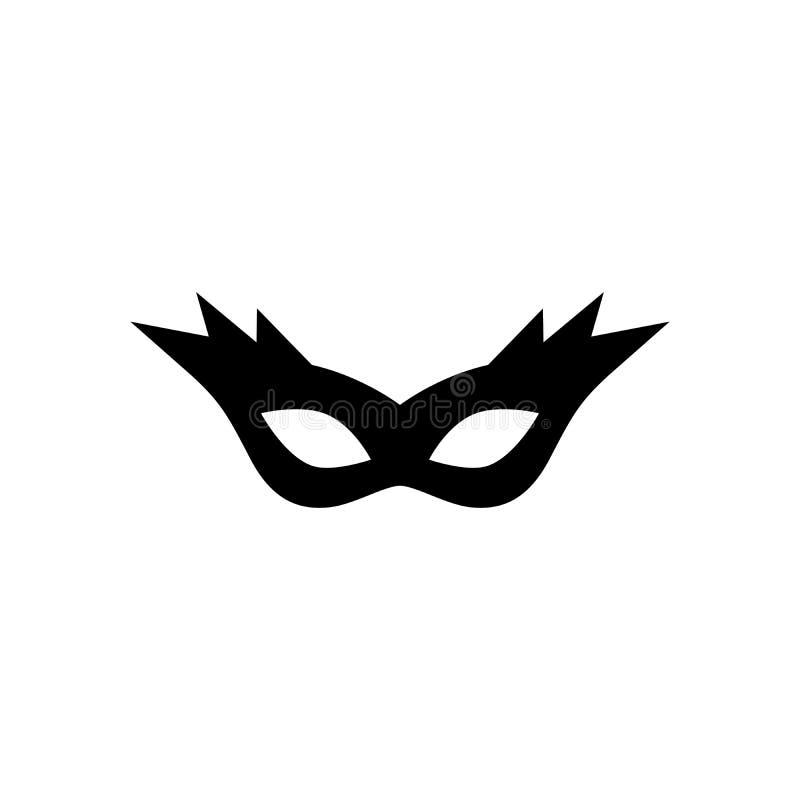 Isolerad symbol för karneval maskering svart färg vektor isolerat vektor illustrationer
