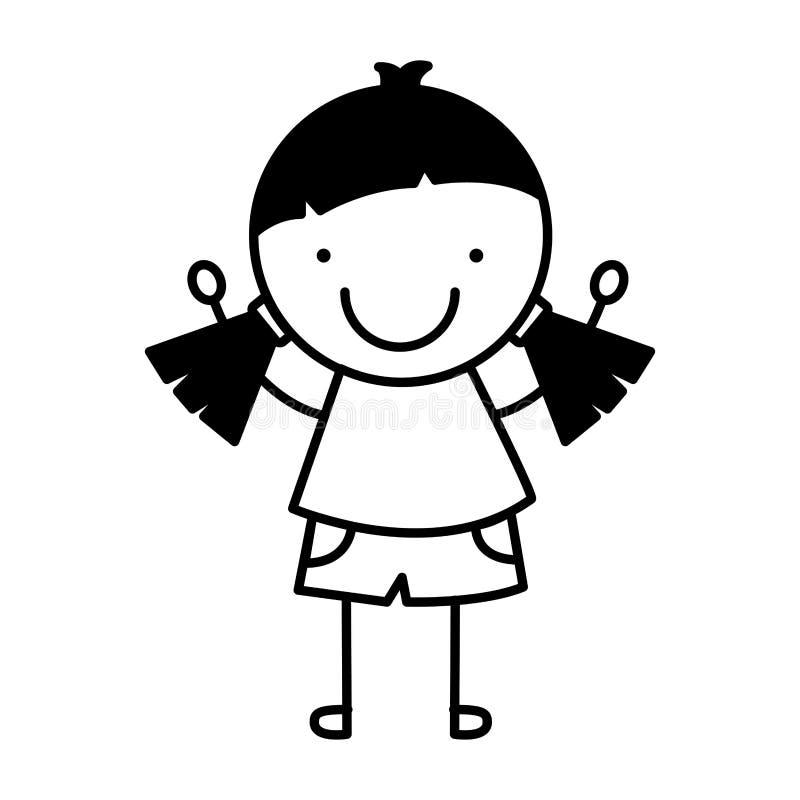Isolerad symbol för liten flicka teckning royaltyfri illustrationer