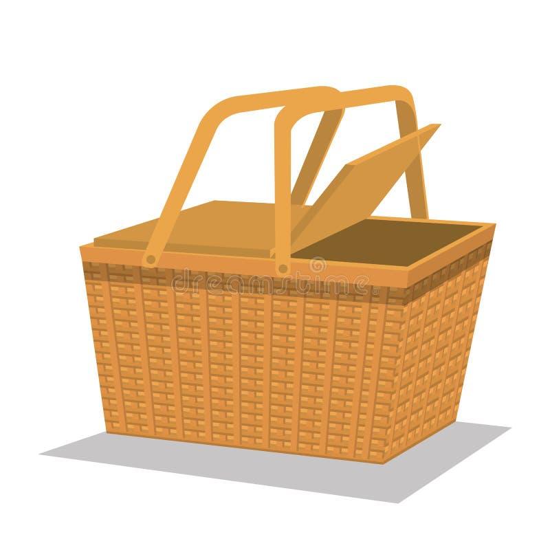Isolerad symbol för picknick korg royaltyfri illustrationer