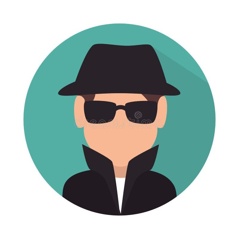 isolerad symbol för spion avatar royaltyfri illustrationer