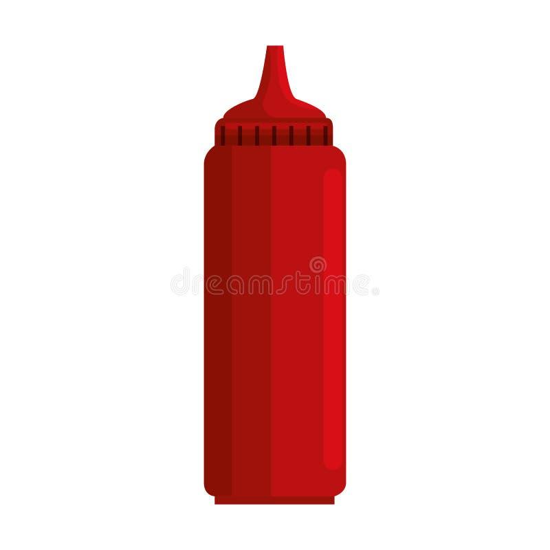 Isolerad symbol för tomatsås flaska royaltyfri illustrationer