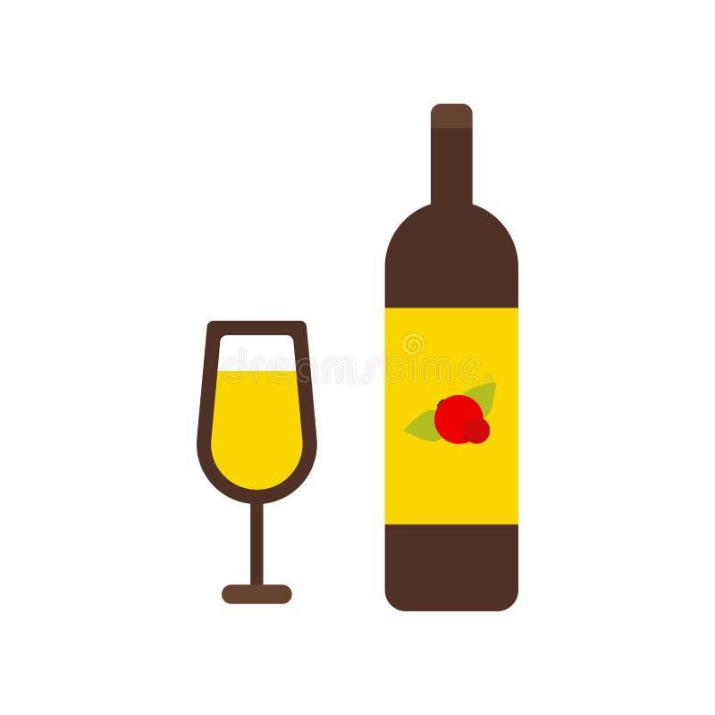 Isolerad symbol för vinflaska och för vinexponeringsglas vektor illustrationer